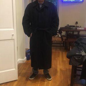 Neiman Marcus Black Wool Trench Coat Size 46R.
